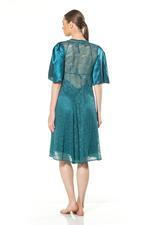 Satin & Lace Midi Nightdress & Robe Set - Turquoise