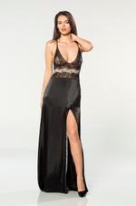Satin & Tulle Nightdress & Robe Set - Black