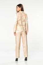 Two piece long sleeve Satin & Lace Pyjama - Beige