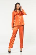 Two piece long sleeve Satin & Lace Pyjama - Orange