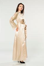 Satin & Lace Nightdress & Robe Set - Beige