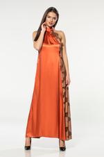 Satin & Lace Nightdress & Robe Set - Orange