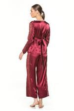 Two piece long sleeve Satin & Lace Pyjama - Bordeau