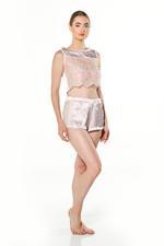 Lace & Satin Cami & Shorts Set - Pink