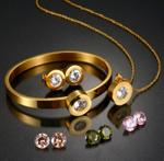 FR Accessories Stainless Steel Women Jewelry Set With Interchangeable Multi Colored Zircons Set 7