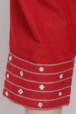 Biba Women Cotton Straight Pants,Red,BG16354RED/L