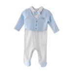 Rock a Bye Baby Baby Boys Sleepsuit Mock , Light Blue/White- JCGAW20S19378