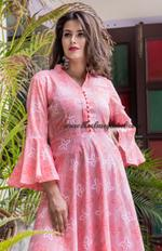 Pink Bandhini Bell Sleeves Maxi Dress
