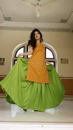 Chartreuse Skirt With Kurta