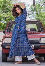 Blue Bndhini Angrakha Kurta + Pants
