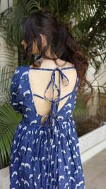 Indigo Butta Backless Maxi Dress
