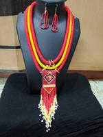 Handmade Gorgeous Red & Yellow Beads Design Jewellery Set