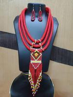 Handmade Gorgeous Red & Yellow Beads Design Jewellery Set