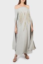 Nyla Off-Shoulder Dress with Slit Cape