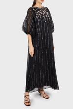 Black Long Sleeve Organza Dress