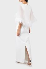 Angel Feather Trimmed Maxi Dress