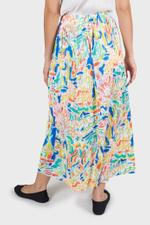 Abstract Pleated Midi Skirt