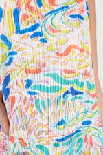 Abstract Pleated Sleeveless Dress
