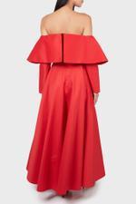Off-Shoulder Dress with Split Overlay