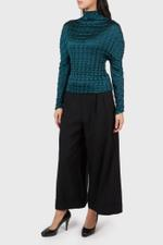 Green Double Box Pleated Blouse