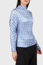 Blue Double Box Pleated Blouse