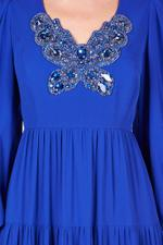 Long Puff Sleeve Embellished Gown