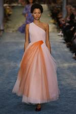 Bicolor One Shoulder Midi Gown