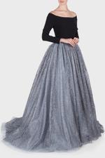 Off-Shoulder Metallic Tulle Gown