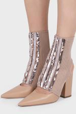 Beige Embellished Sock Block Heels