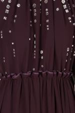 Burgundy Embellished Evening Gown