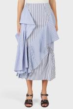 Panel Ruffle Drape Mix Striped Skirt