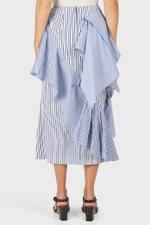 Panel Ruffle Drape Mix Striped Skirt