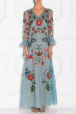 Silk Organza Embroidered Gown
