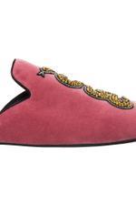 Snake Embroidered Velvet Slippers