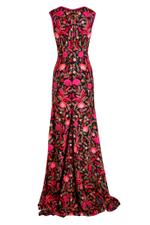 Full Fitted Flower Embroidered Gown