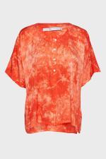 Henley Ripple Satin Tie-Dye Top
