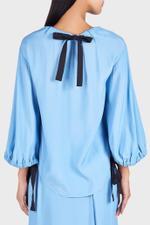 Dana Linen Long-Sleeve Top with Ribbon