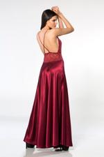 Lace & Satin Long Nightdress - Bordeaux
