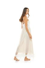Lace & Tulle Long  Nightdress - Peach