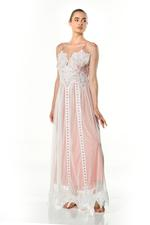 Lace & Tulle Long Tulle Nightdress - Rosy Brown