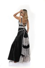 Frilly Satin & lace Long Nightdress - Black/White
