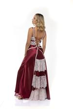 Frilly Satin & lace Long Nightdress - Bordeaux/White