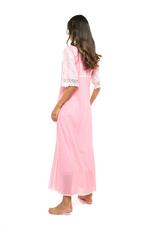 Long Voile Cotton Nightdress with short Sleeves & lace - Coral