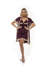 Chiffon & Lace short Nightdress & Robe Set - Bordeaux