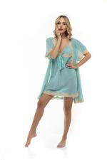 Chiffon & Lace short Nightdress & Robe Set - Turquoise
