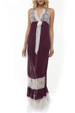 Chiffon & Lace Halterneck  Long Nightdress - Purple