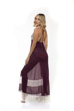 Chiffon & Lace Halterneck  Long Nightdress - Purple