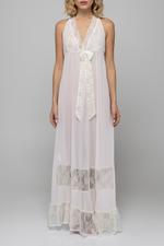 Chiffon & Lace Halterneck  Long Nightdress - Light Pink