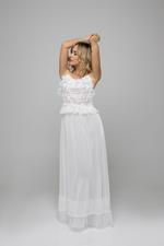 Tulle & dantel lace Long Nightdress - White
