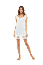 Chiffon Short Nightdress with lace neckline - Blue